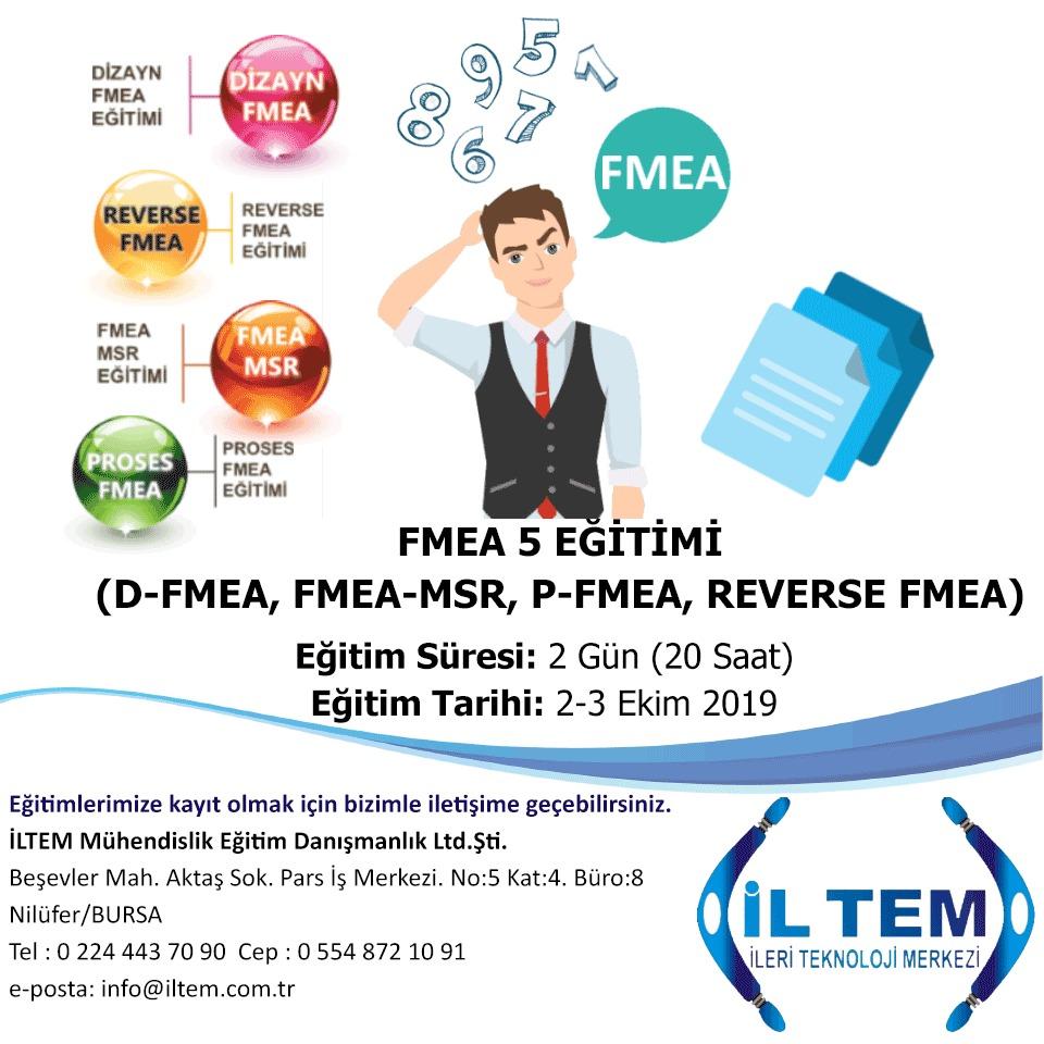 FMEA 5 (HATA TÜRLERİ ve ETKİLERİ ANALİZİ) (D-FMEA, FMEA-MSR, P-FMEA, REVERSE FMEA) EĞİTİMİ 2 EKİMde BAŞLIYOR BURSA